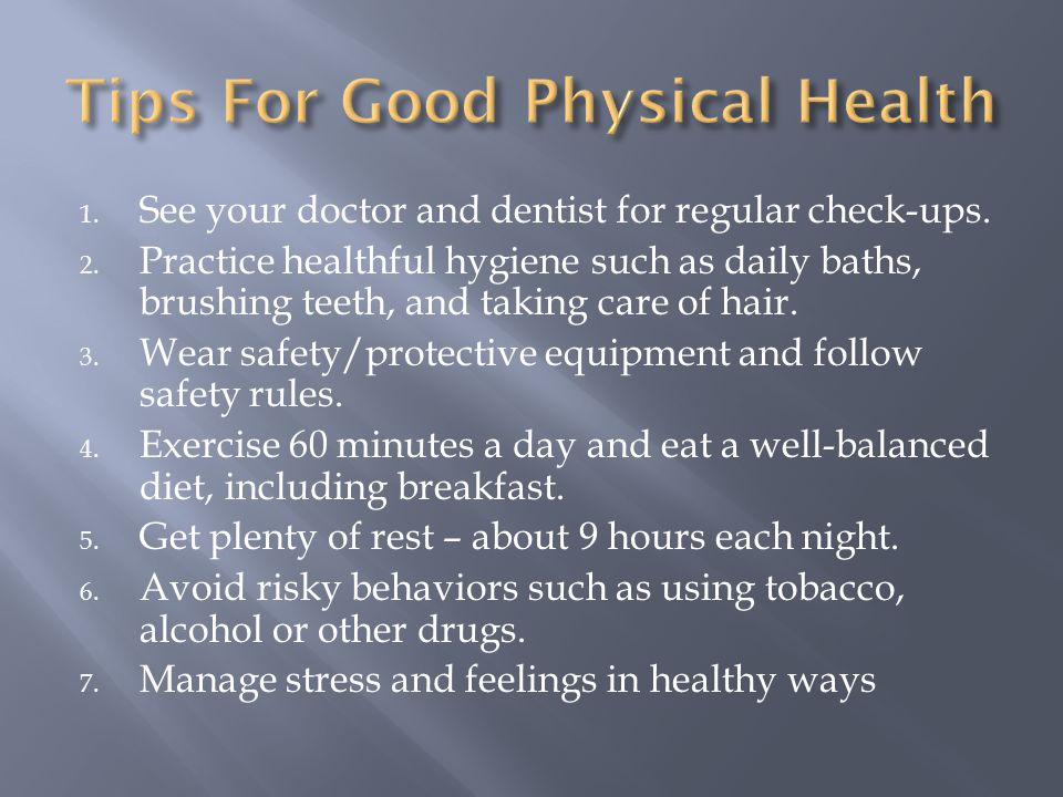 Tips For Good Physical Health