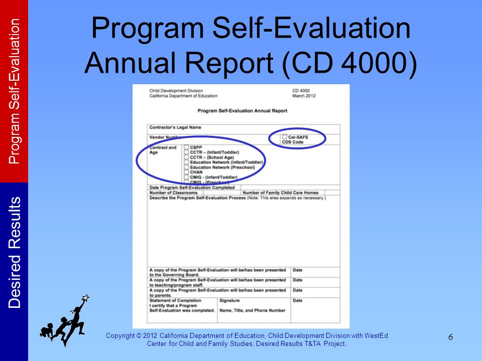 Program Self-Evaluation Annual Report (CD 4000)