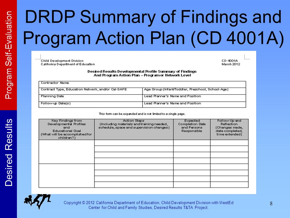 DRDP Summary of Findings and Program Action Plan (CD 4001A)