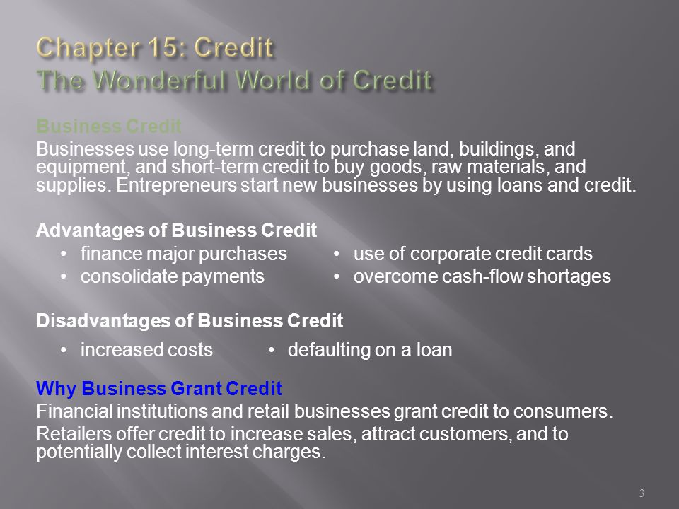 Credit the wonderful world of credit ppt video online download chapter 15 credit the wonderful world of credit reheart Image collections
