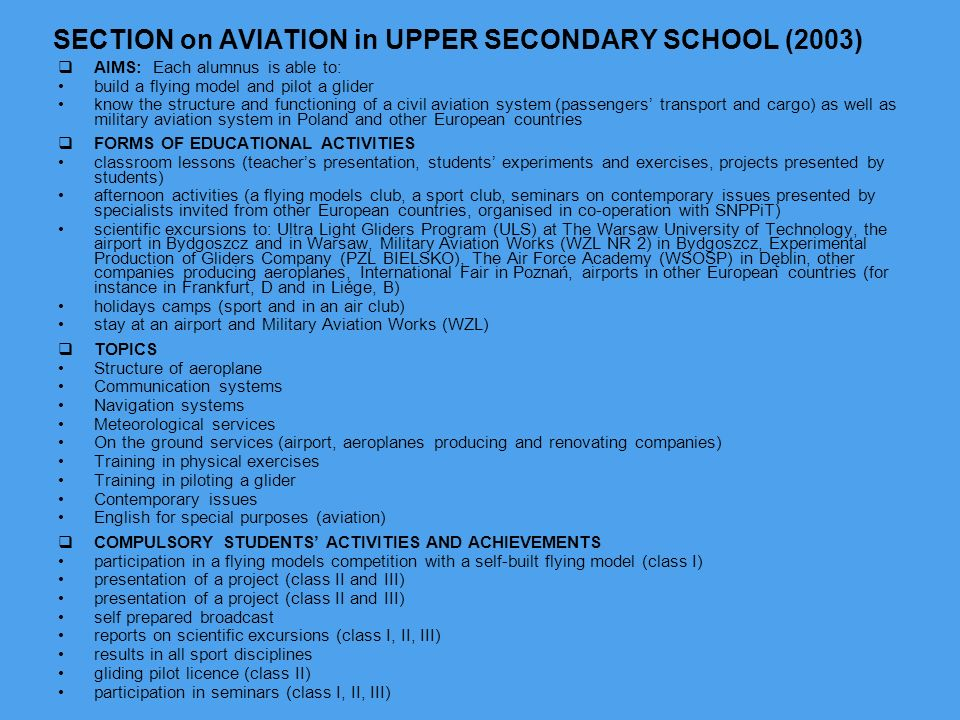 SECTION on AVIATION in UPPER SECONDARY SCHOOL (2003)