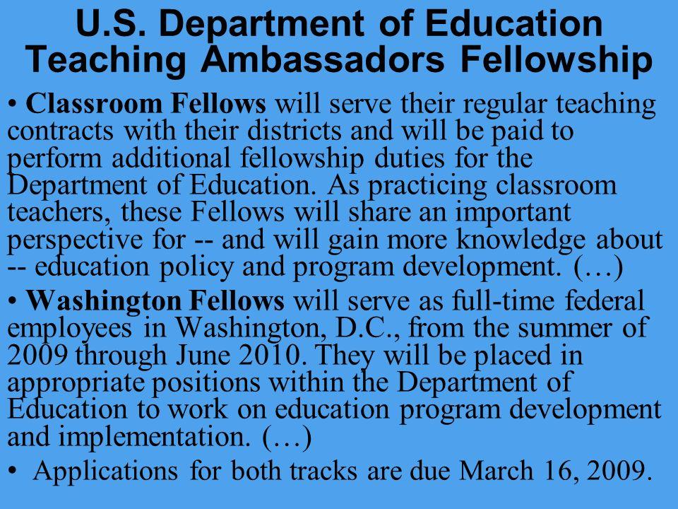 U.S. Department of Education Teaching Ambassadors Fellowship