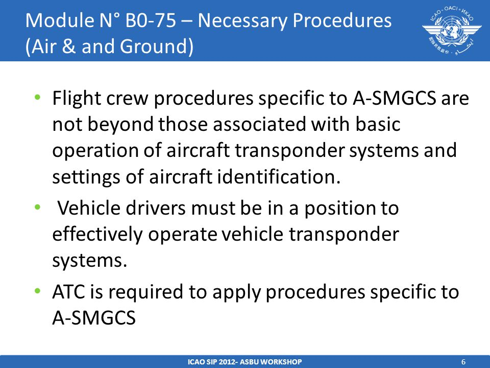 Module N° B0-75 – Necessary Procedures (Air & and Ground)