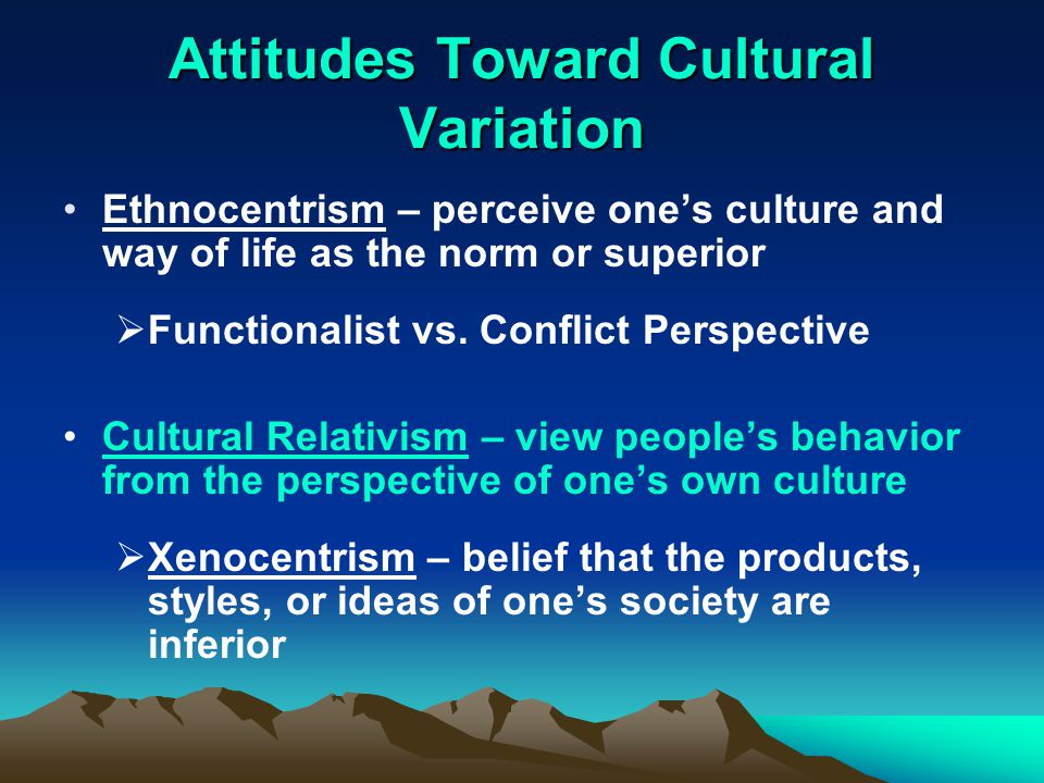 differences between ethnocentrism and cultural relativism 2 cultural relativism brought attention to the problem of ethnocentrism which   this theory also holds the belief that the differences between peoples were the.