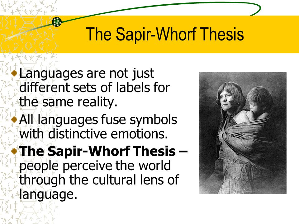 critics of the sapir-whorf thesis What is the sapir-whorf hypothesis paul kay university of calqornia, berkeley willett kempton michigan state university the history of empirical research on the.