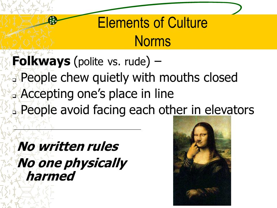 culture folkways vs mores The project gutenberg ebook, folkways in all ages and stages of culture how laws and institutions differ from mores when folkways have become institutions or laws they have changed their character and are to be distinguished from the mores.