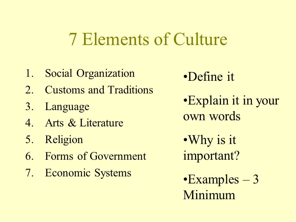 Give The Elements Of Art : Seven elements of culture ppt video online download