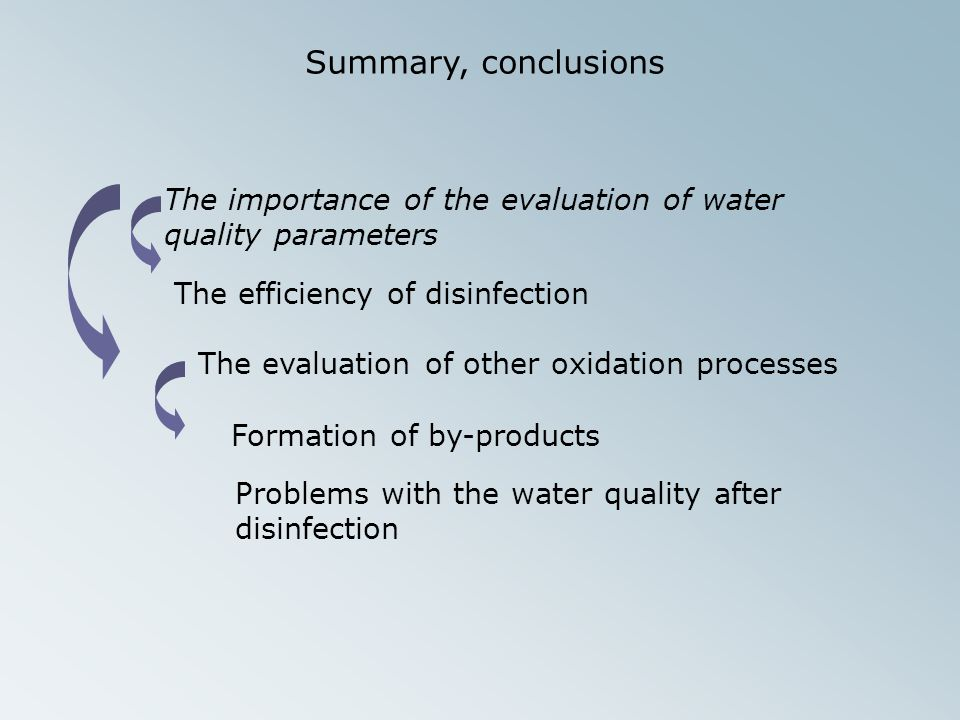 Summary, conclusions The importance of the evaluation of water