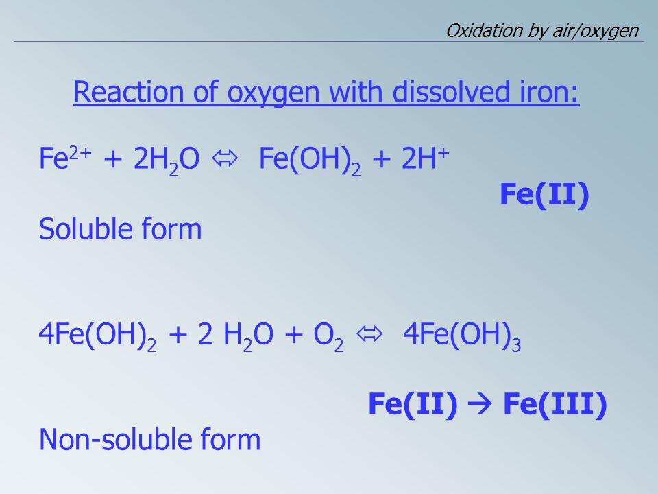 Reaction of oxygen with dissolved iron: