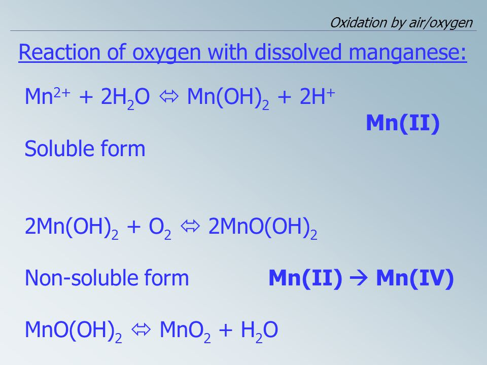 Reaction of oxygen with dissolved manganese: