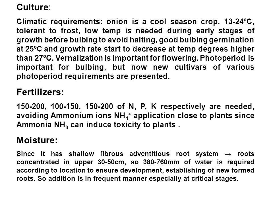 Culture: Fertilizers: Moisture: