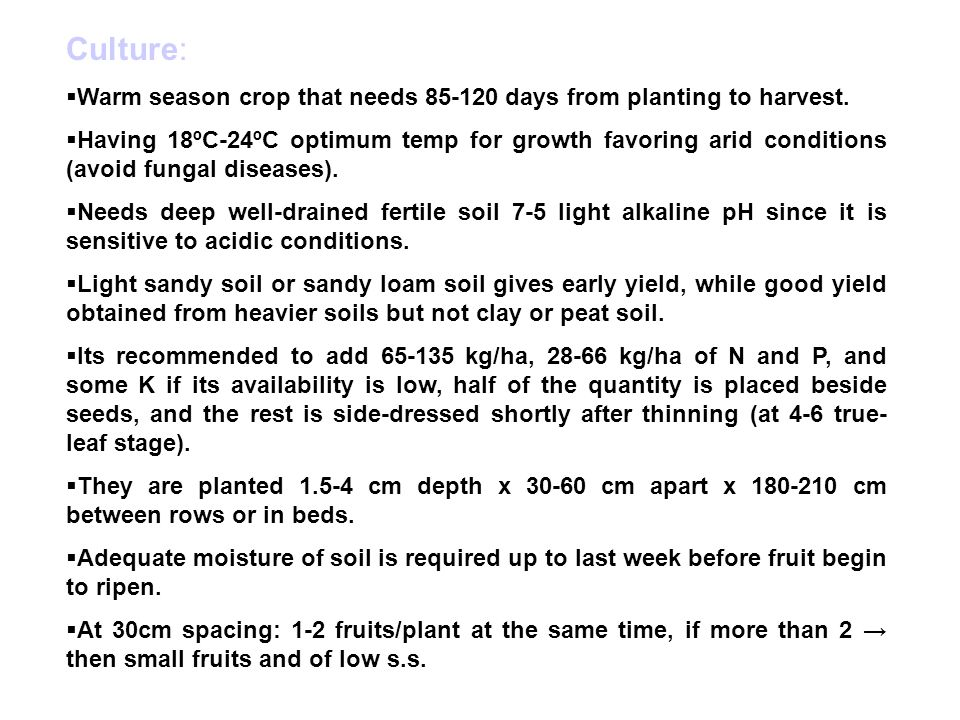 Culture: Warm season crop that needs 85-120 days from planting to harvest.