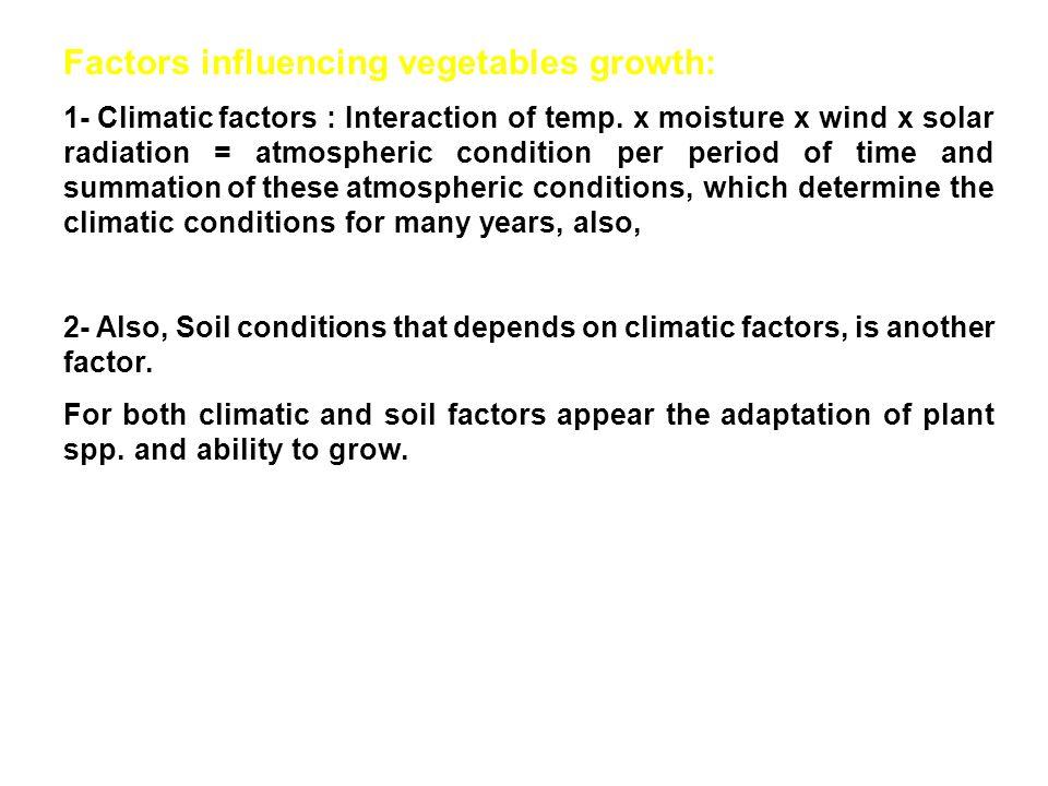 Factors influencing vegetables growth: