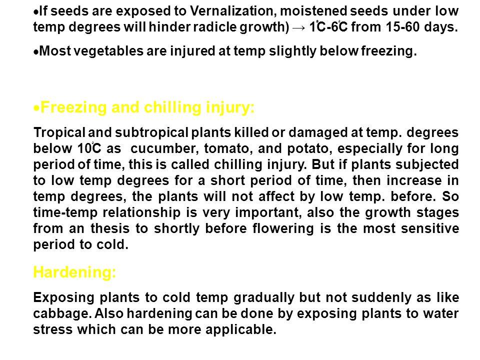 Freezing and chilling injury: