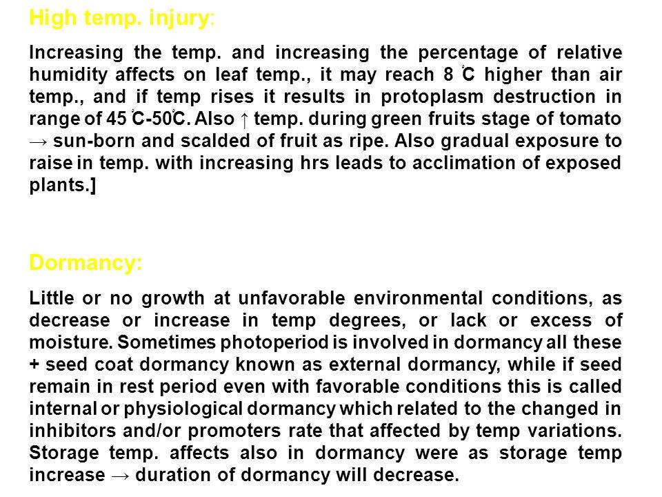 High temp. injury: Dormancy: