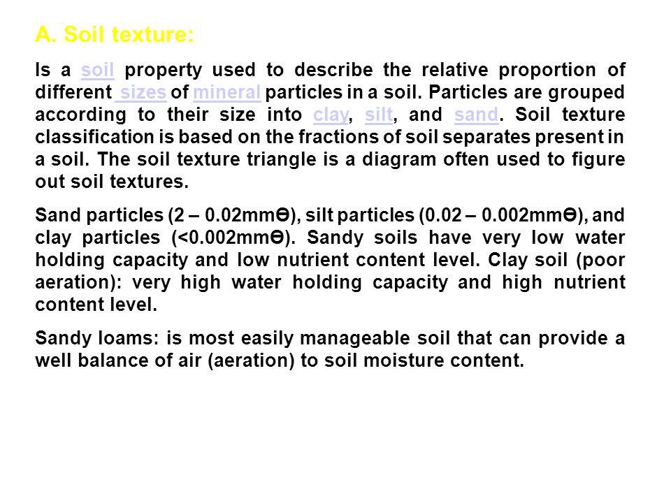 A. Soil texture: