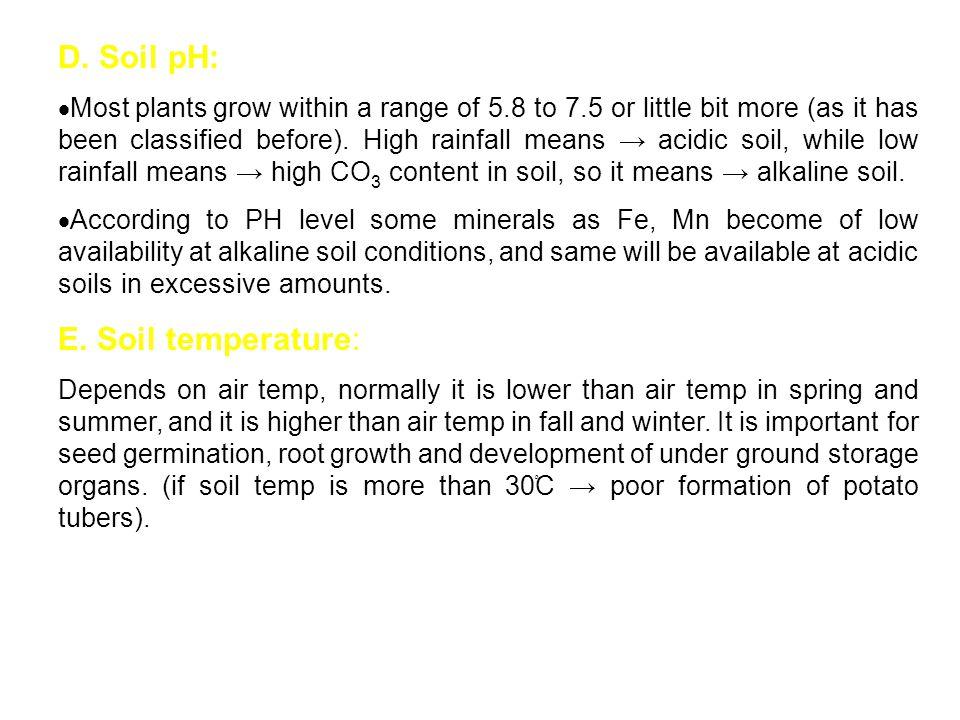 D. Soil pH: E. Soil temperature: