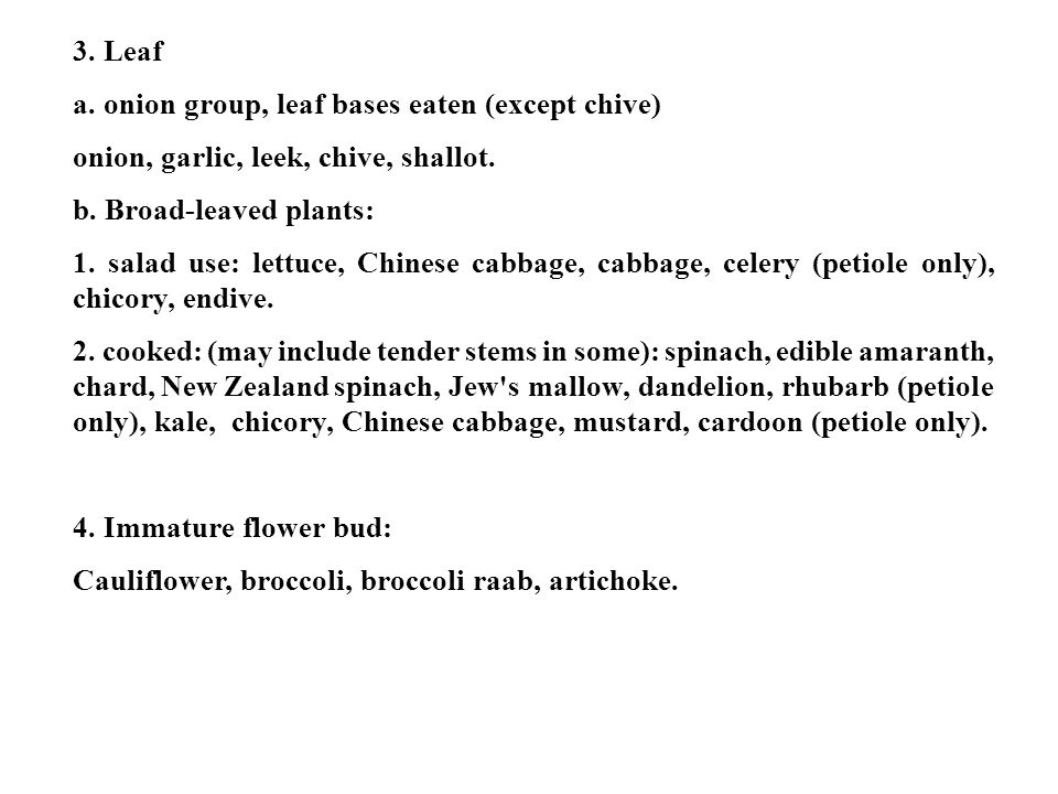 3. Leaf a. onion group, leaf bases eaten (except chive) onion, garlic, leek, chive, shallot. b. Broad-leaved plants: