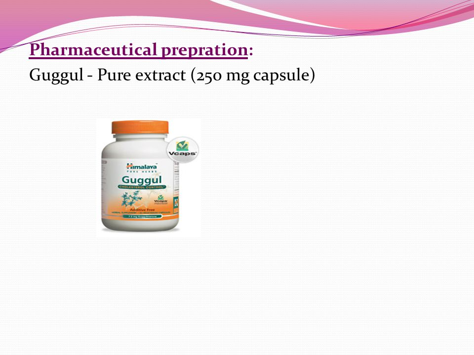 Pharmaceutical prepration: Guggul - Pure extract (250 mg capsule)