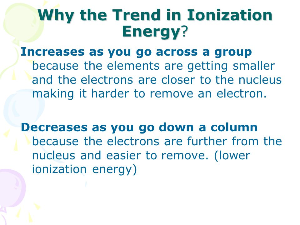 Why the Trend in Ionization Energy