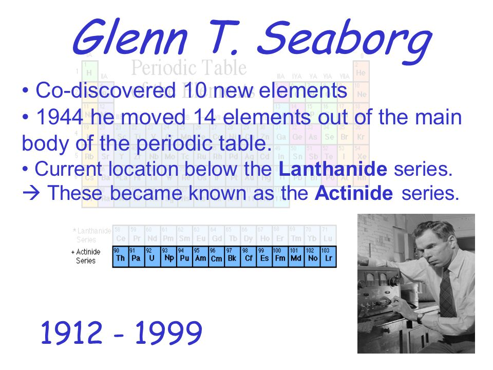 Periodic Table glenn seaborg contributions to the modern periodic table : The History of the Modern Periodic Table - ppt video online download