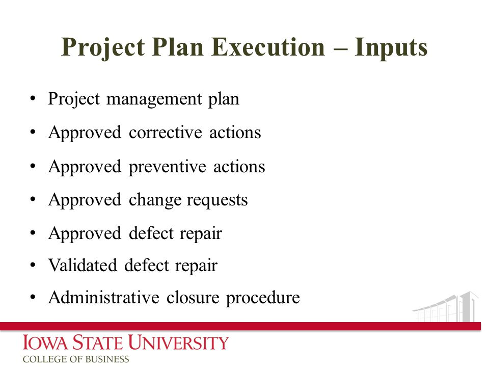 Project Plan Execution – Inputs
