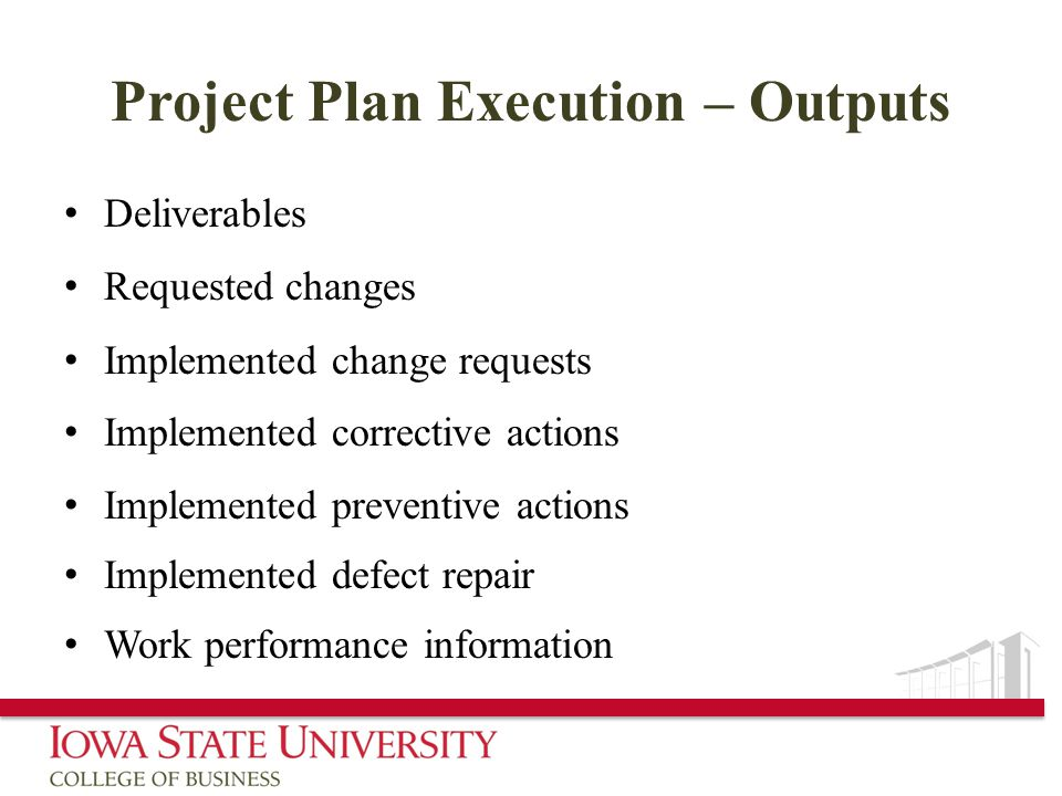 Project Plan Execution – Outputs