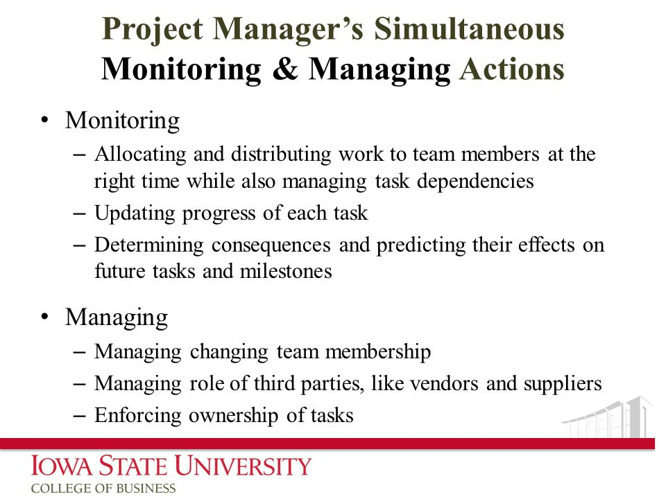 Project Manager's Simultaneous Monitoring & Managing Actions