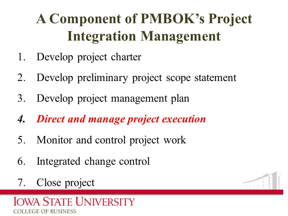A Component of PMBOK's Project Integration Management