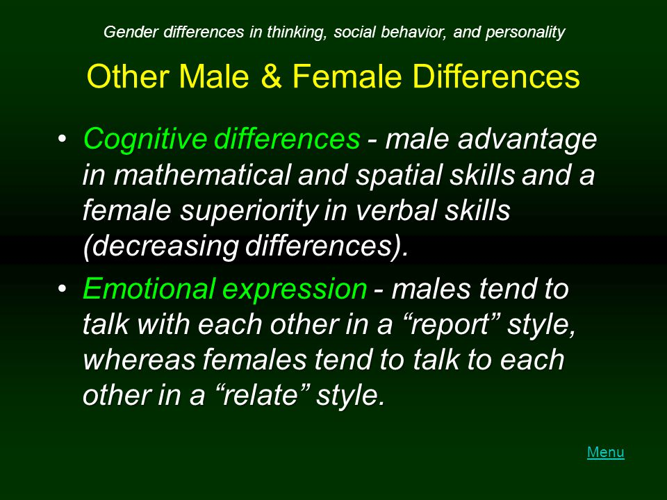 Other Male & Female Differences