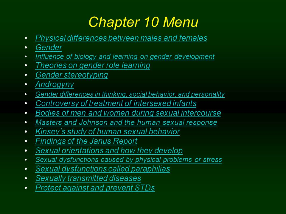 Chapter 10 Menu Physical differences between males and females Gender