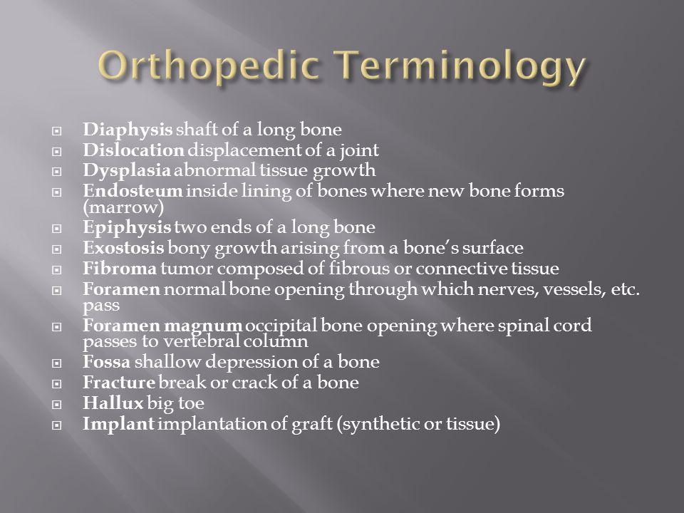 Orthopaedic terminology