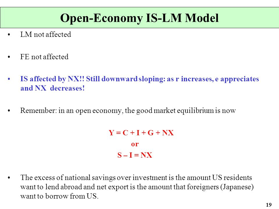open economy is lm summary Economic policy with  floating exchange rates chapter overview chapter 12 continues to use the open economy is-lm-bp model that was first introduced in chapter 10 to examine the consequences of monetary and fiscal policy on internal and external policy objectives.