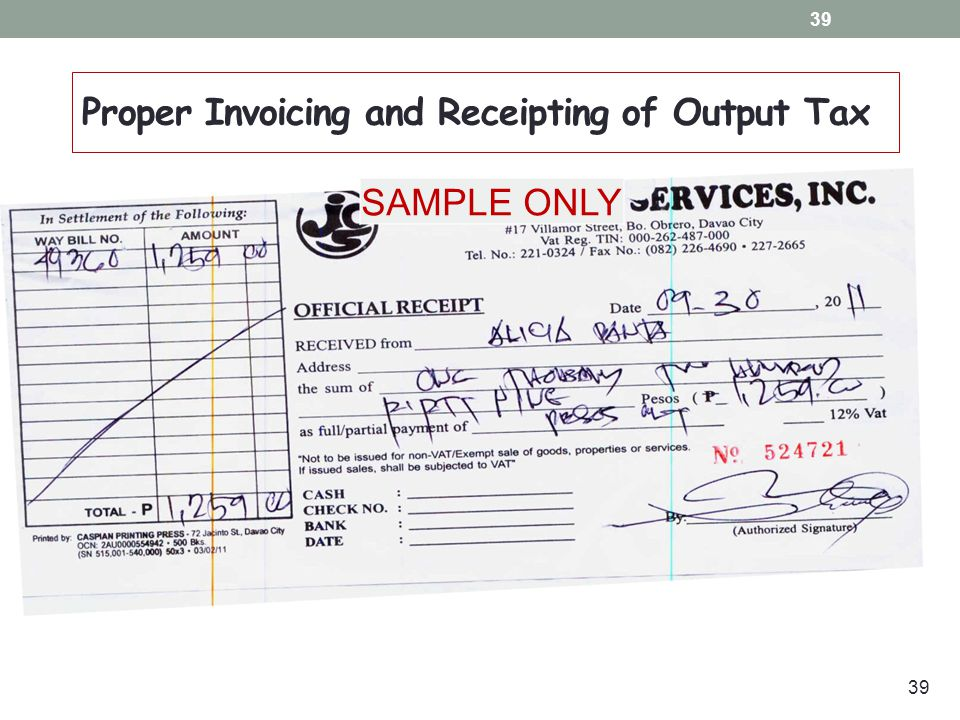 Bookkeeping Invoicing and Registration Requirements ppt video – Sample Official Receipt