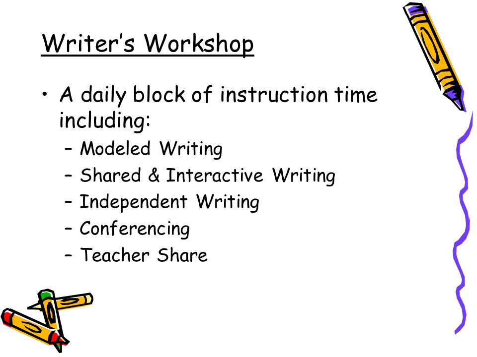 Writer's Workshop A daily block of instruction time including: