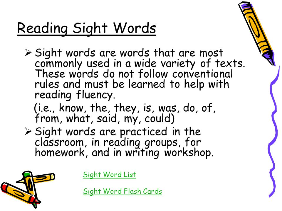 Reading Sight Words