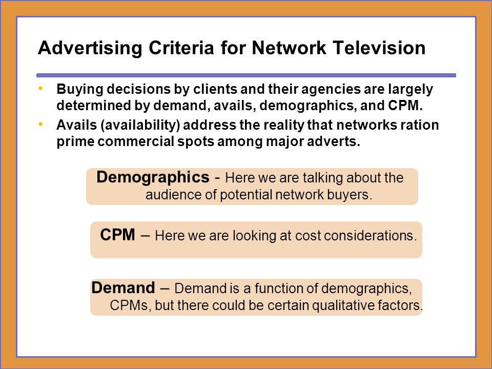 Advertising Criteria for Network Television