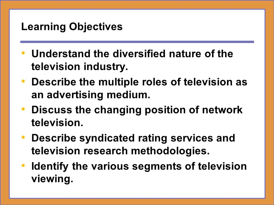 Learning Objectives Understand the diversified nature of the television industry.