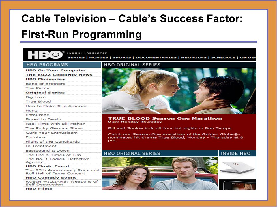 Cable Television – Cable's Success Factor: First-Run Programming