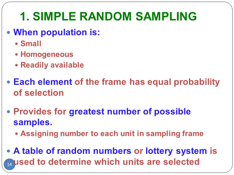 simple random sampling in research With those terms defined we can begin to define the different probability sampling methods simple random sampling the simplest form of random sampling is called simple in most real applied social research, we would use sampling methods that are considerably more complex than these simple.