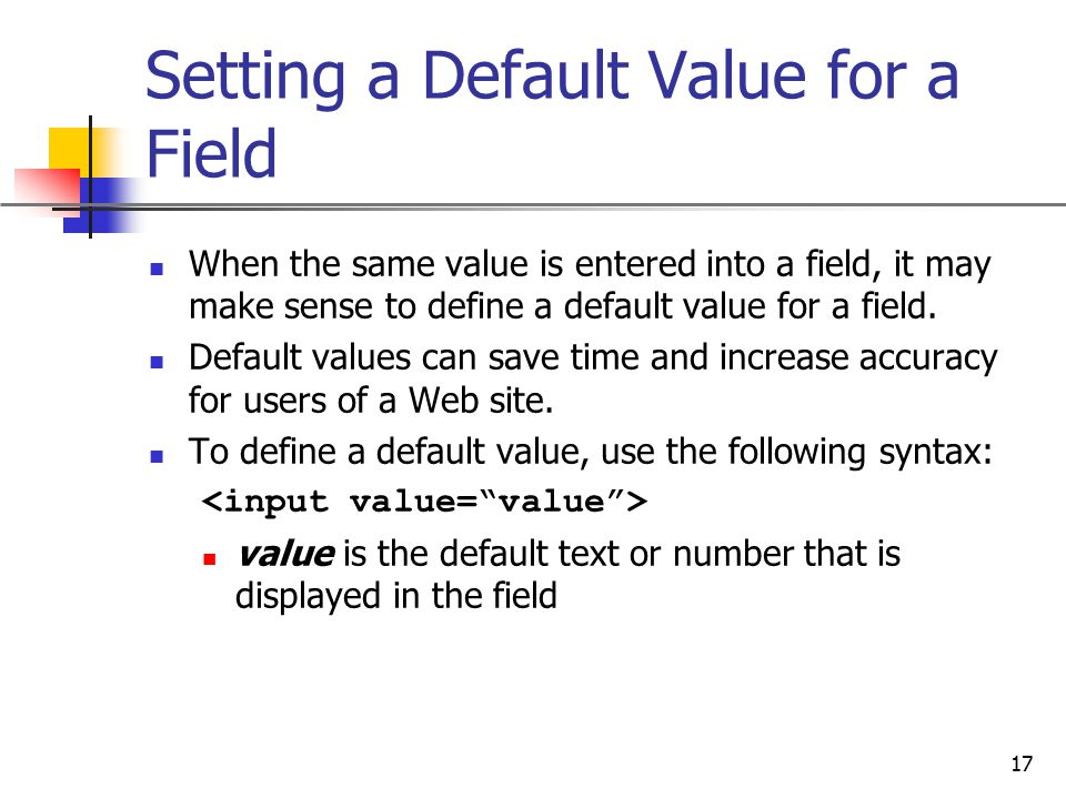 Setting a Default Value for a Field