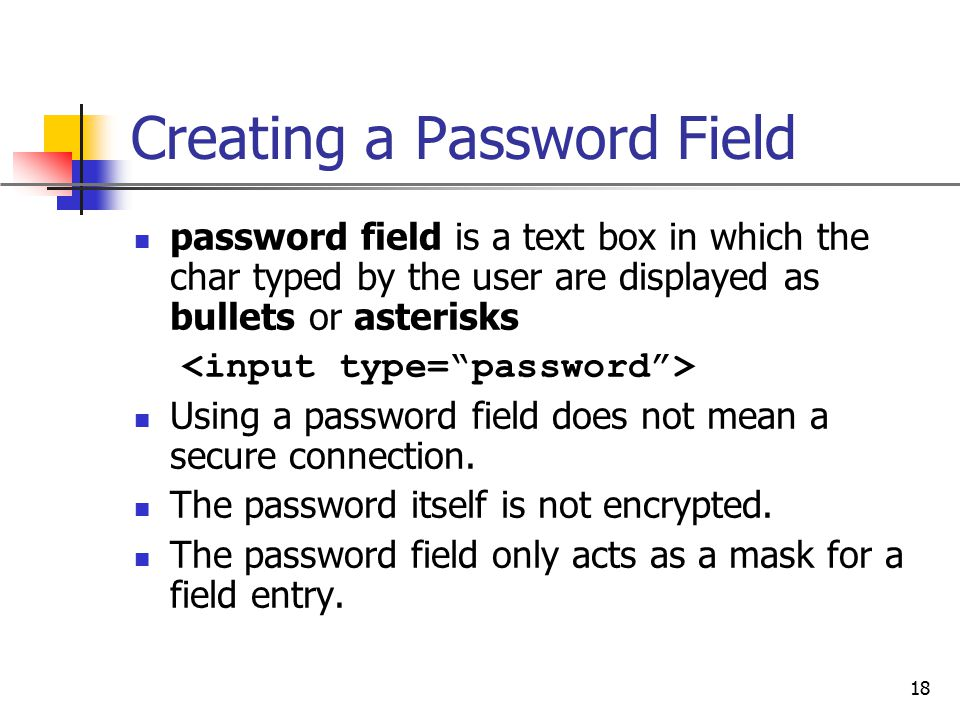 Creating a Password Field