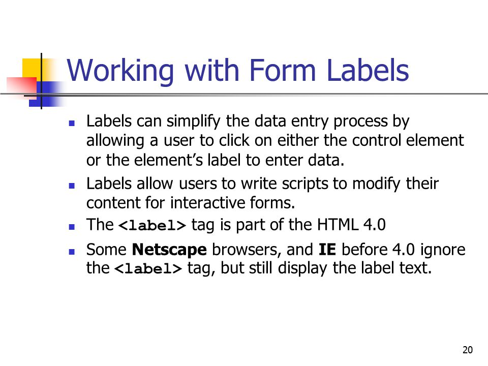 Working with Form Labels