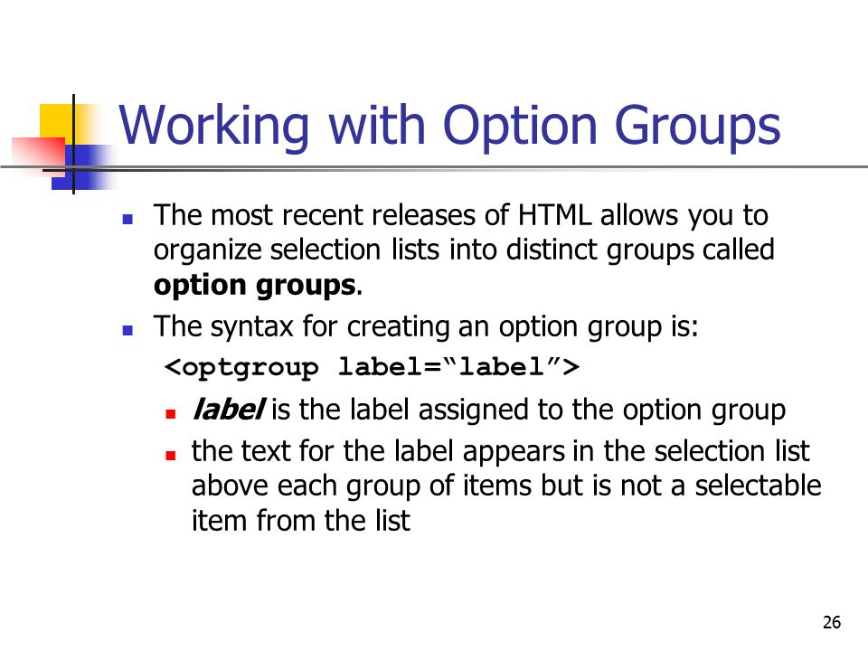Working with Option Groups