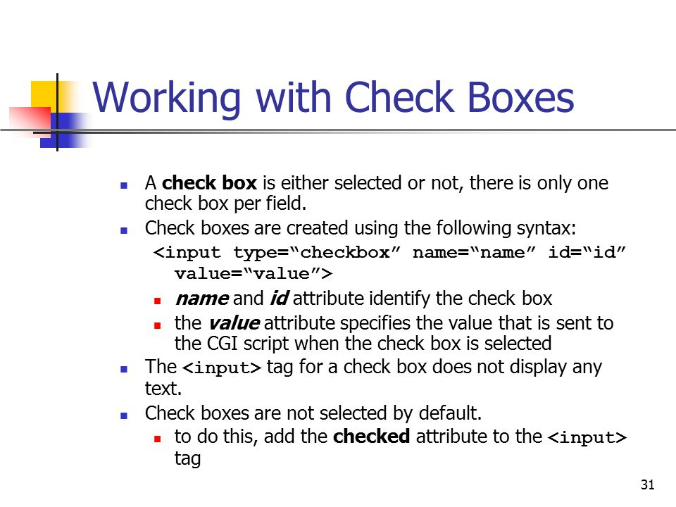 Working with Check Boxes
