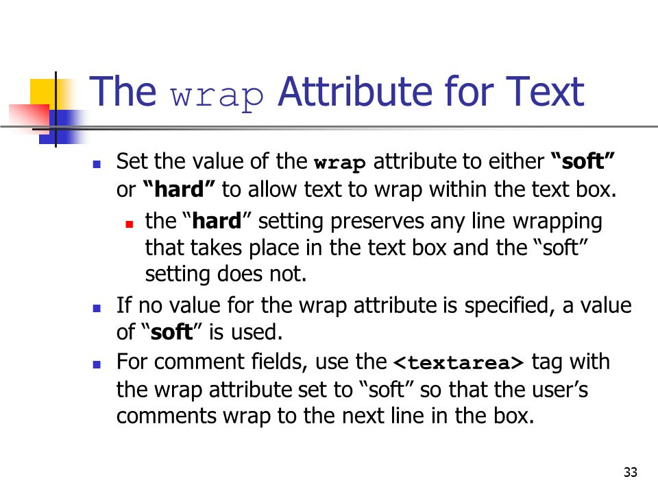 The wrap Attribute for Text