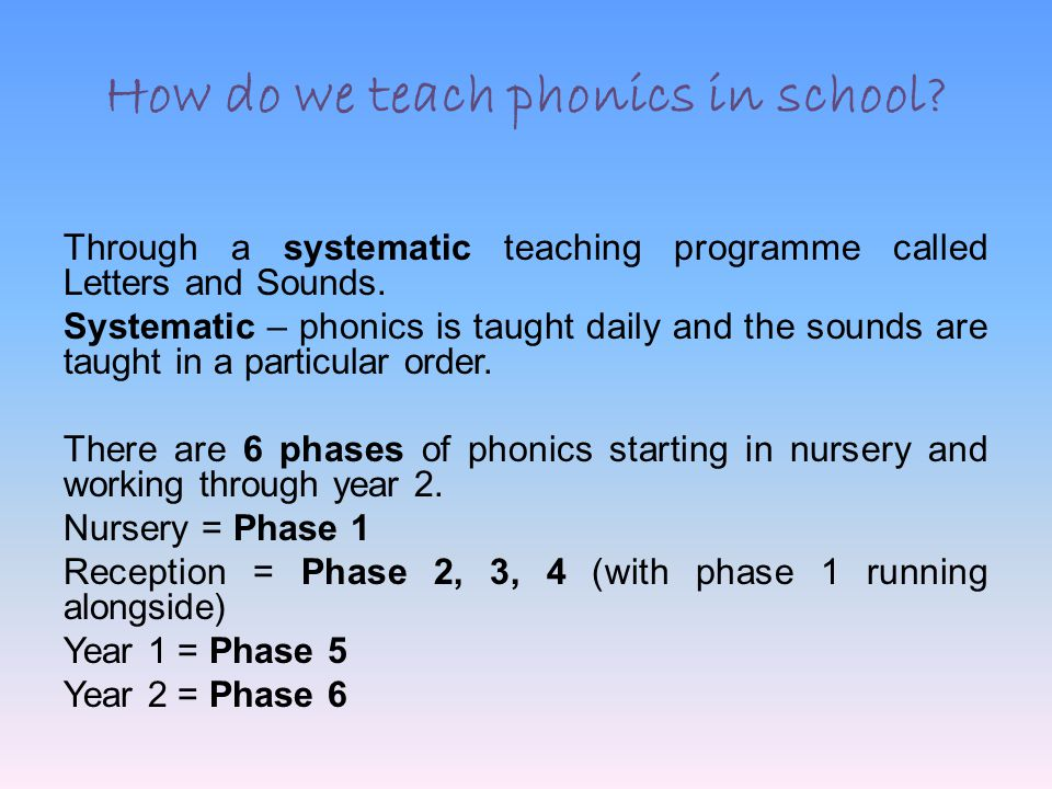 How Do We Teach Phonics In School