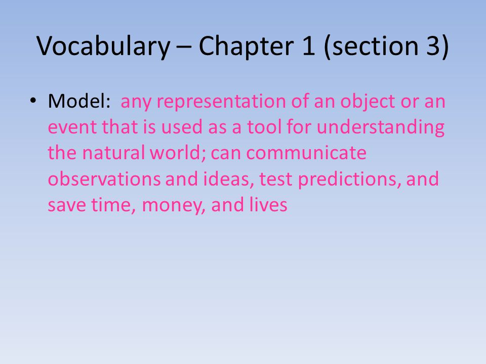 Vocabulary – Chapter 1 (section 3)