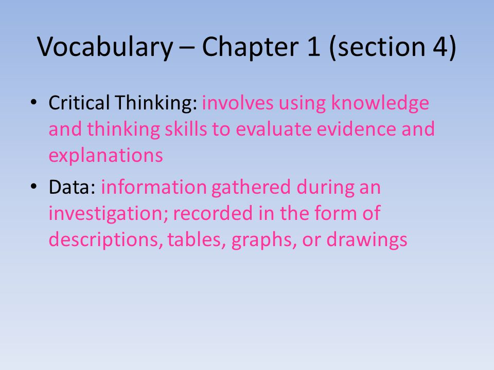 Vocabulary – Chapter 1 (section 4)