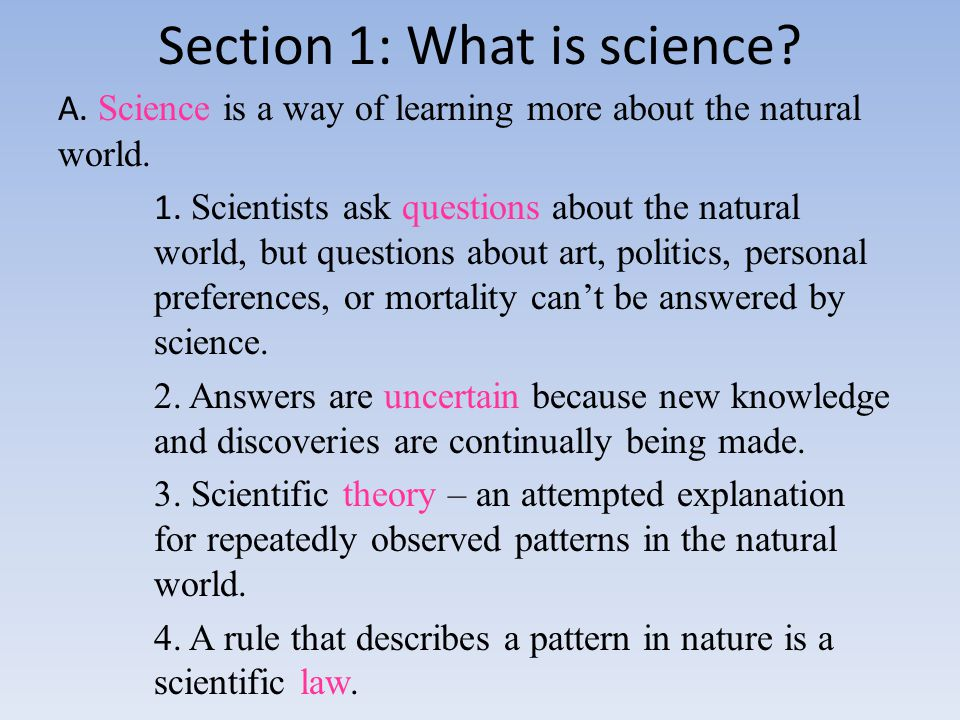 Section 1: What is science